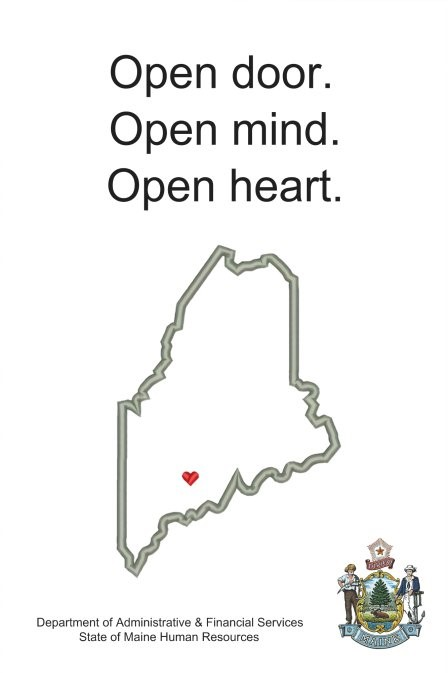 Graphic with State of Maine outlined, with the words Open Door, Open Mind, Open Heart