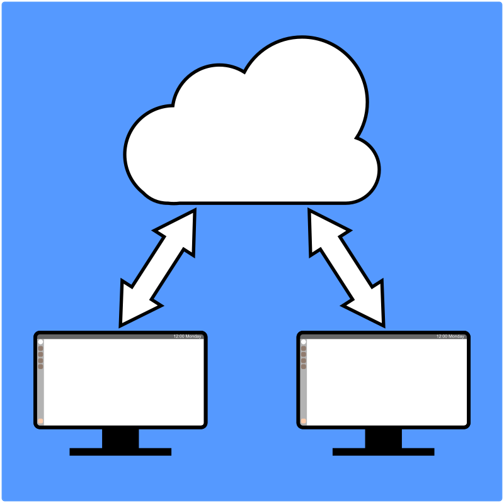 two computer screens with a cloud representing sharing information