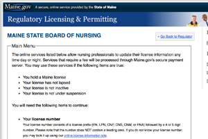 Licensing: Maine State Board of Nursing