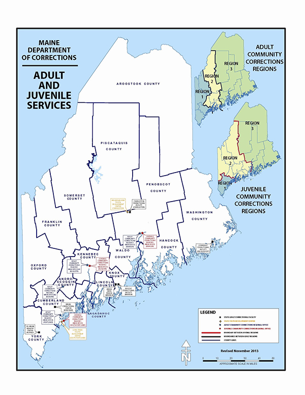 Map of Maine Adult and Juvenile Services
