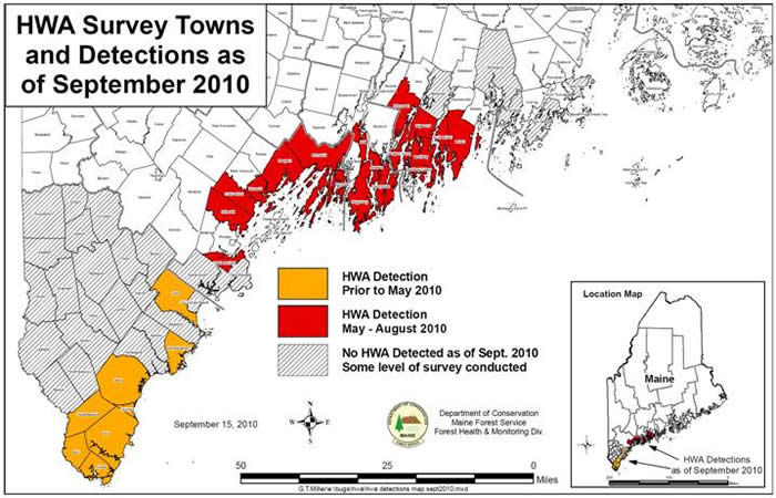Map of towns with known infestations of HWA and towns surveyed by MFS as of September 15, 2010