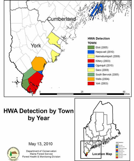 HWA Detection by Town and Year (MFS)