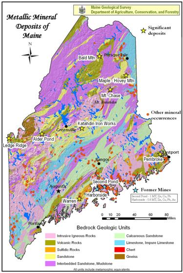 Geologic Map Of Maine.Maine Geological Survey Metallic Mineral Deposits