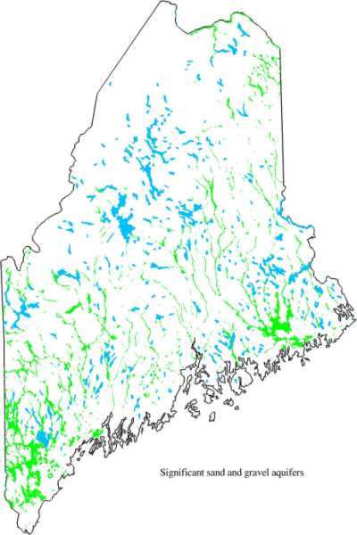 Distribution Of Mapped Sand And Gravel Aquifers In Maine Shown In Green Northwestern Maine Is Currently Unmapped For Sand And Gravel Aquifers But