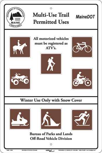 Example of a Multi-use Trail Sign showing the permitted uses for a trail. The visual icons used on the sign are for: horseback riding, biking, hiking, ATVing, motor cycling and winter used with snow cover for snow mobiles, cross-country skiing and dog sledding. Note that not all multi-use trails allow the same uses.