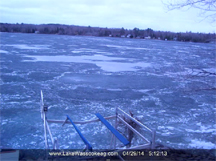 ice out picture and link to lake wassookeag timelapse video