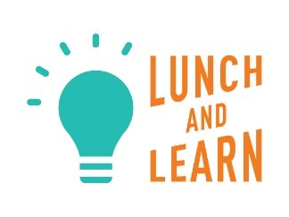 "A green light bulb with orange text saying ""Lunch and Learn"""