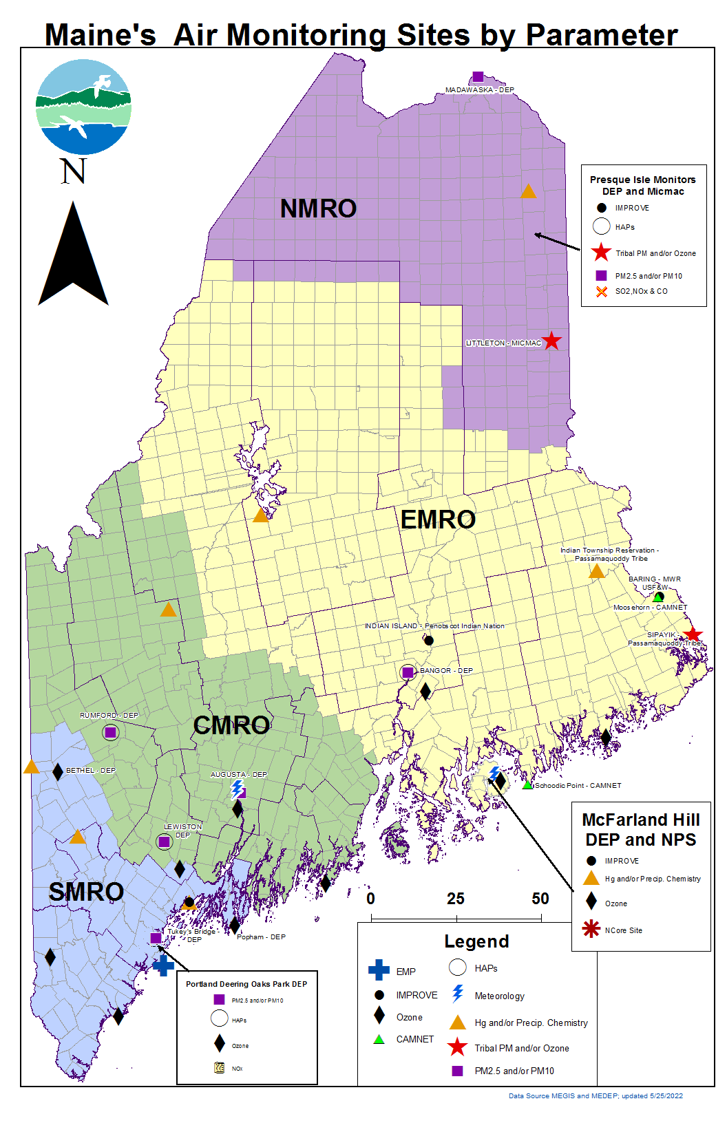 Air Monitoring Sites, Air Monitoring and Reporting, Maine DEP on map simulation, map policy, map strategy, map assessment,