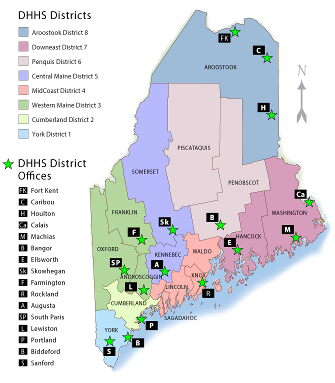District Map: Maine DHHS on site map, local map, chapter map, street map, field map, class map, township map, metropolitan map, facility map, county map, parent map, school map, precinct map, deep loot map,