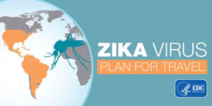 Zika virus plan for travel graphic with a globe and mosquito