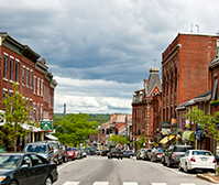 Downtown street in Belfast, Maine