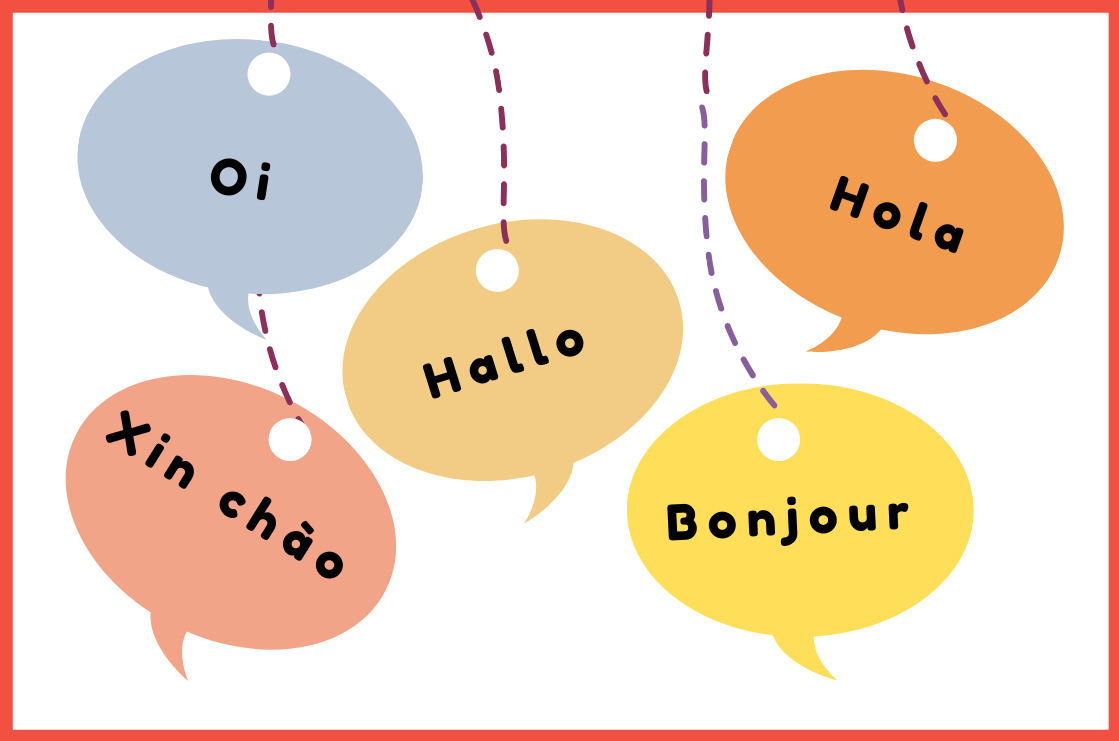 speech bubbles of multiple languages