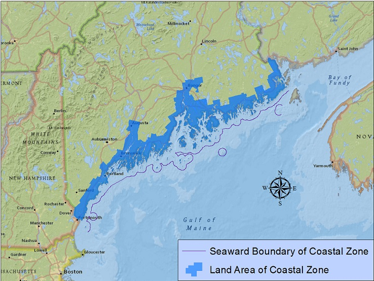 Map Of Maine Coastline Towns.Maine Coastal Program Coastal Zone Map Maine Dept Of Marine