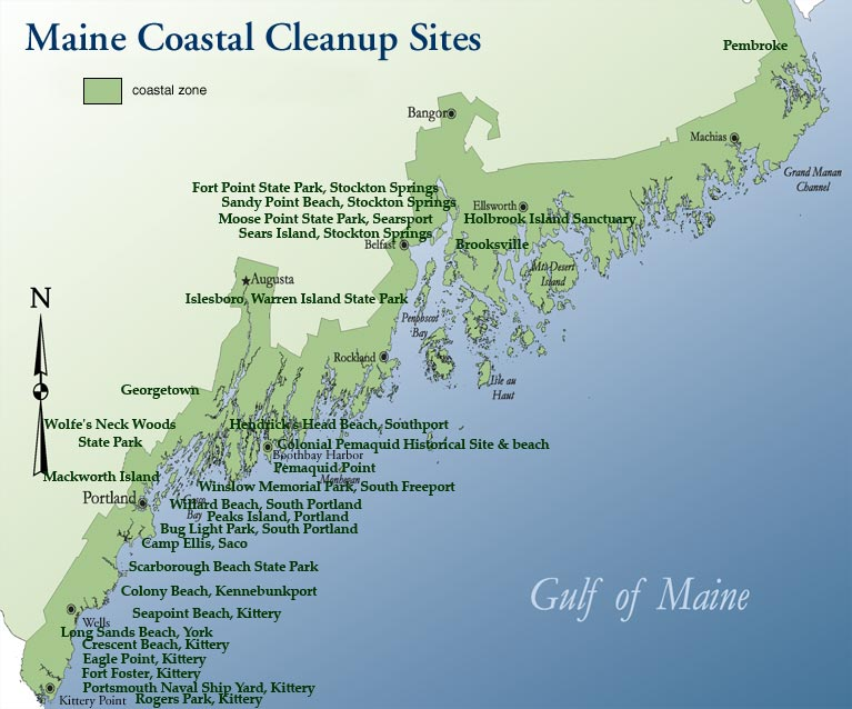 Map Of Maine Coastline Towns.Maine Coastal Program Coastweek Cleanup Map Maine Dept Of Marine