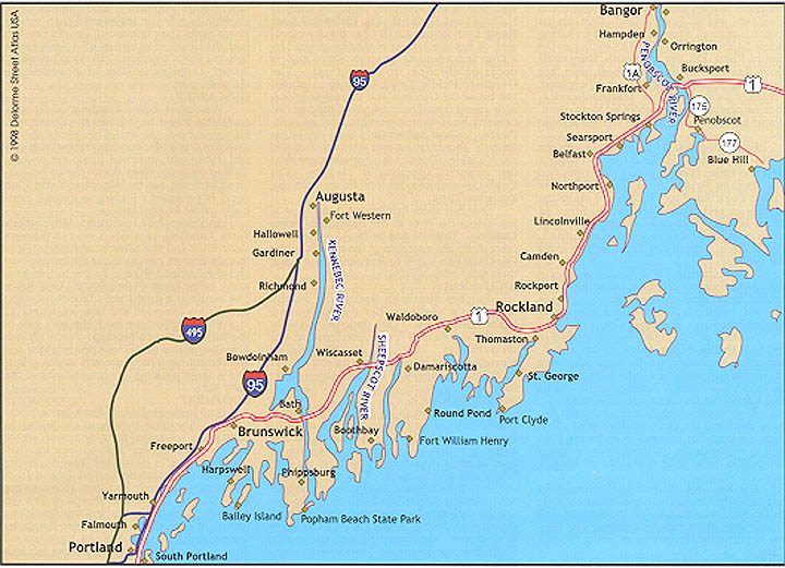 Map Of Maine Coastline Towns.Where To Saltwater Fish In Central Maine South Portland To Blue