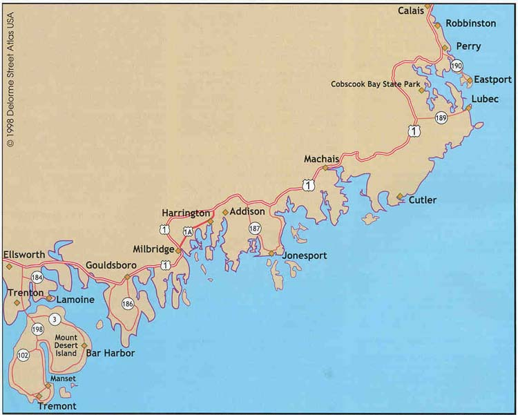 Map Of Maine Coastline Towns.Where To Saltwater Fish In Eastern Maine Ellsworth To Calais