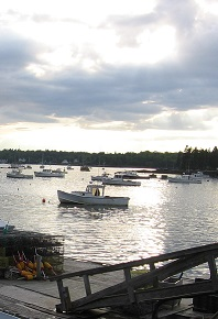 Lobster boats & gear in Boothbay Harbor, photo by Margaret Jones Perritt 2008