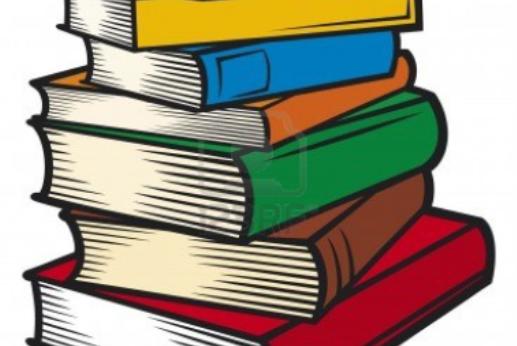 descriptive cartoon multicolored books