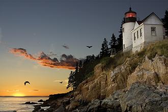 lighthouse off the coast of Maine