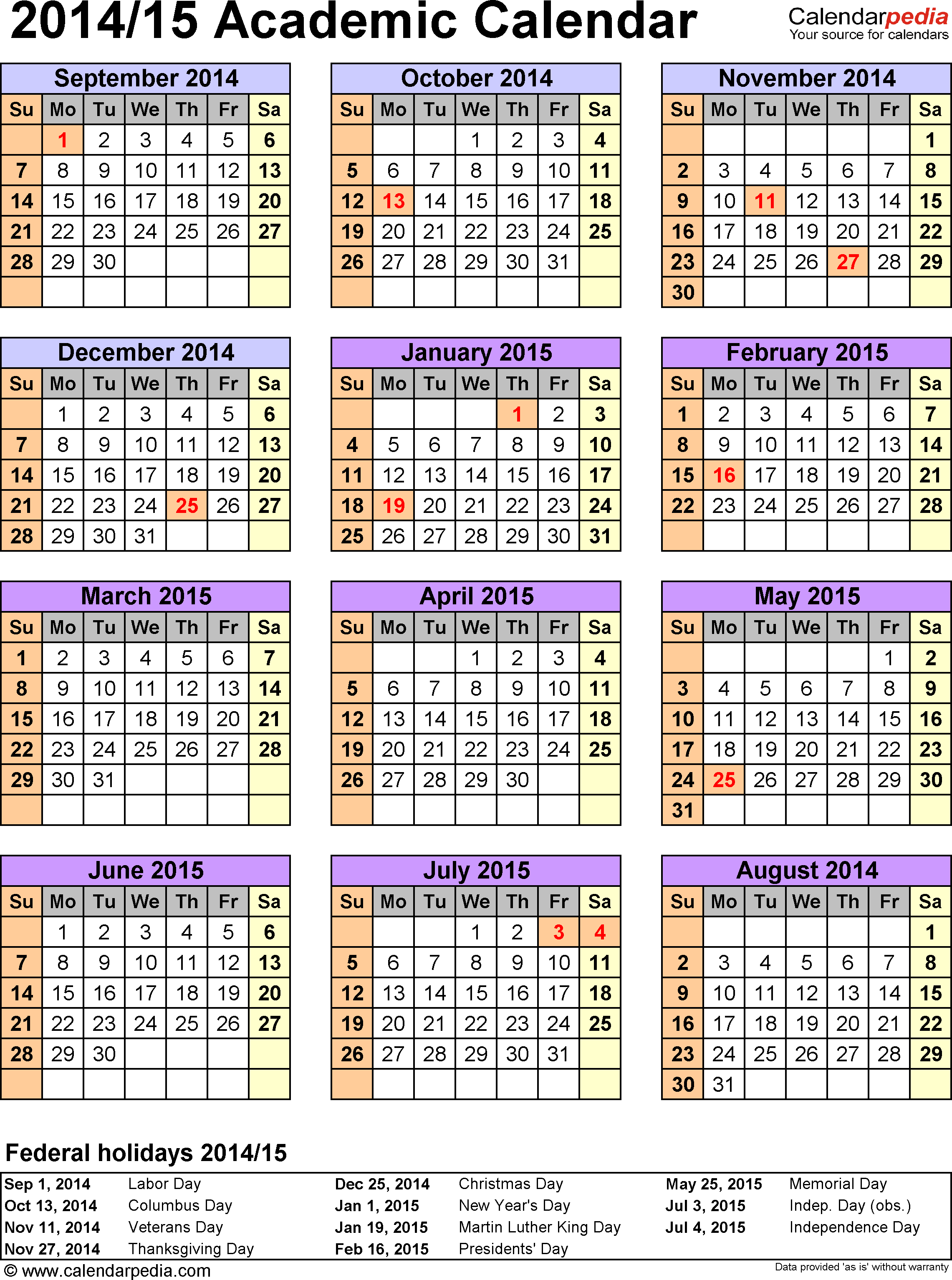 University Of Arizona Academic Calendar 2020-21 Academic Calendar CDS | Department of Education