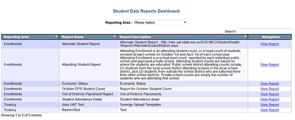Student Data Reports Dashboard image