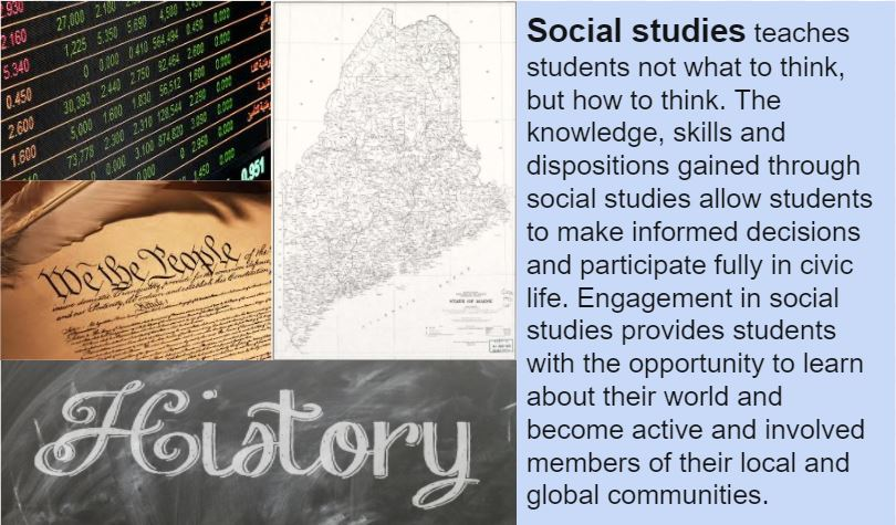 Social studies teaches students not what to think, but how to think. The knowledge, skills and dispositions gained through social studies allow students to make informed decisions and participate fully in civic life. Engagement in social studies provides students with the opportunity to learn about their world and become active and involved members of their local and global communities.