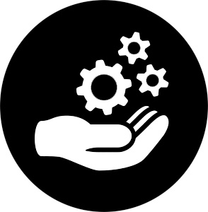 Icon of a hand holding gears