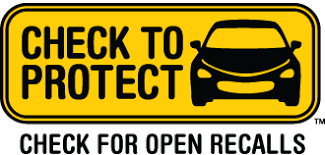 Image has a black car and says Check to Protect. Check for open recalls.