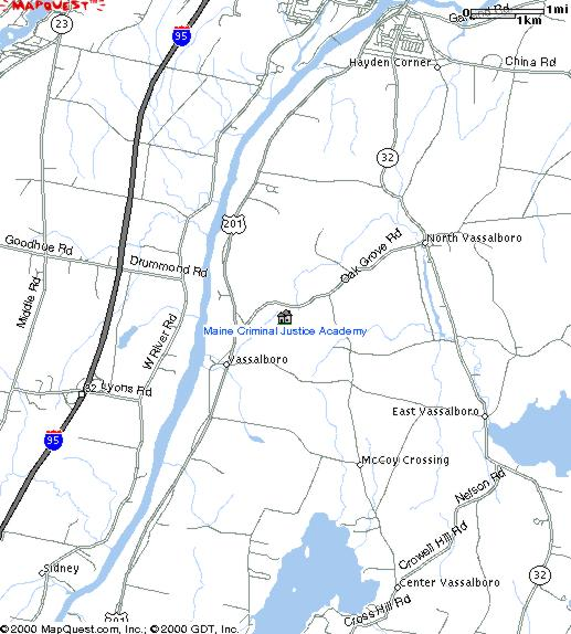 Maine Map Quest.Maine Criminal Justice Academy Location Directions