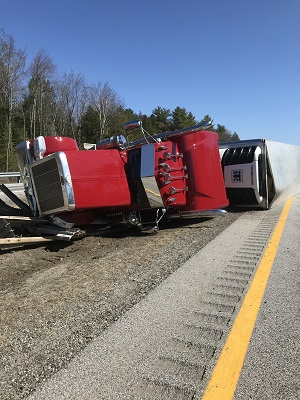 Crashed Tractor Trailer truck