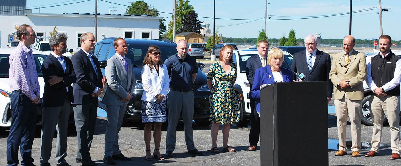Governor Mills speaking at EV Rebate Program launch