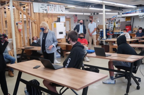 Governor Mills addresses students in the plumbing program at the Biddeford Regional Technology Center