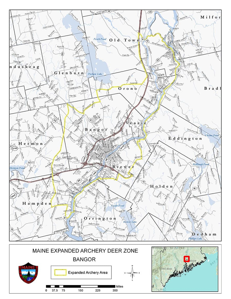 Hermon Maine Map.Bangor Area Expanded Archery Season On Deer Hunting Trapping