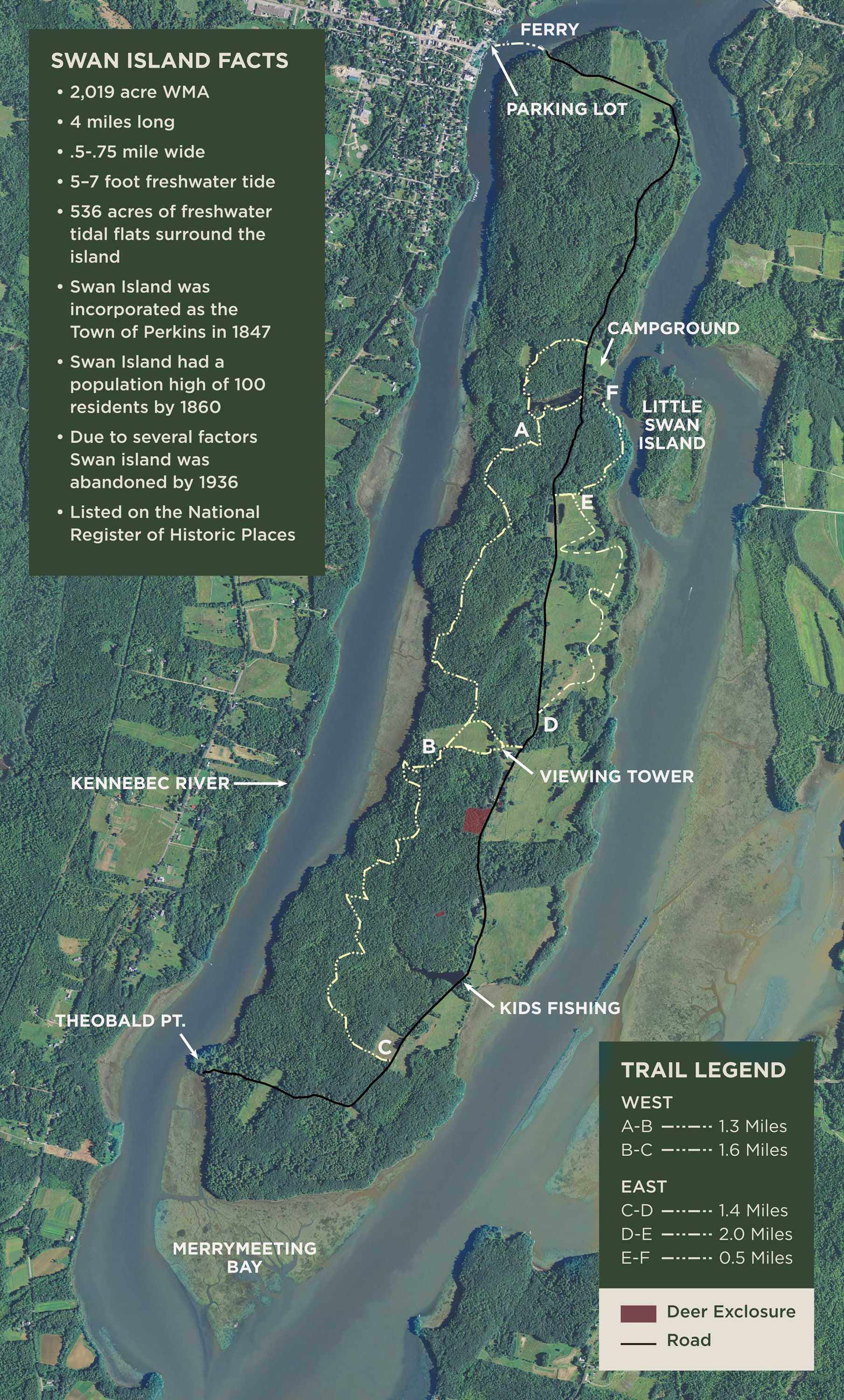 Swan Island Wildlife Management Area: Recreational ... on north maine woods map, maine coast map, cliff lake maine map,