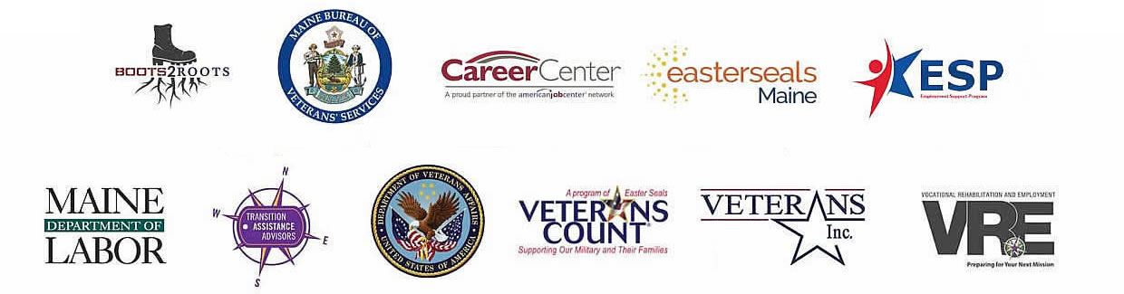 This is a logo showing the Maine Hire A Vet program partners.