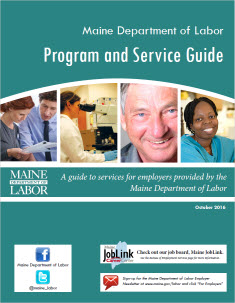 This is a graphic for the Maine Department of Labor's program and service guide