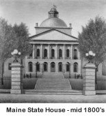 Maine State House, Augusta, Maine, as of the mid-1800s. This building was originally designed by noted American architect Charles Bulfinch, as shown. A high dome was later added. This image is from the US Library of Congress online collection.