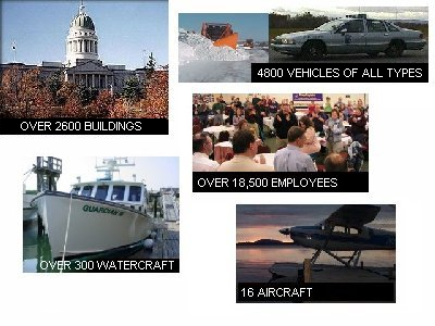 Risk Management Insures over 2600 buildings, 4800 vehicles of all types, over 300 watercraft, over 18,500 employees and 16 aircraft