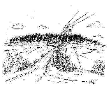 Black and white drawing of road to Mackworth Island