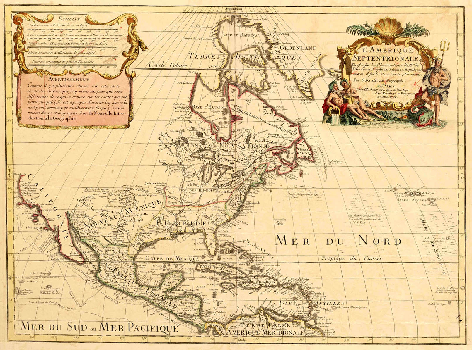 State Archives Collections Exhibits Septentrionalis - Map of north america 1700