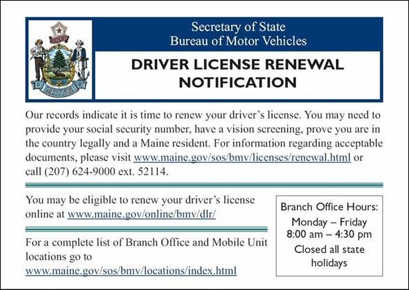 Driver License Renewal Postcards to Replace More Costly Information ...