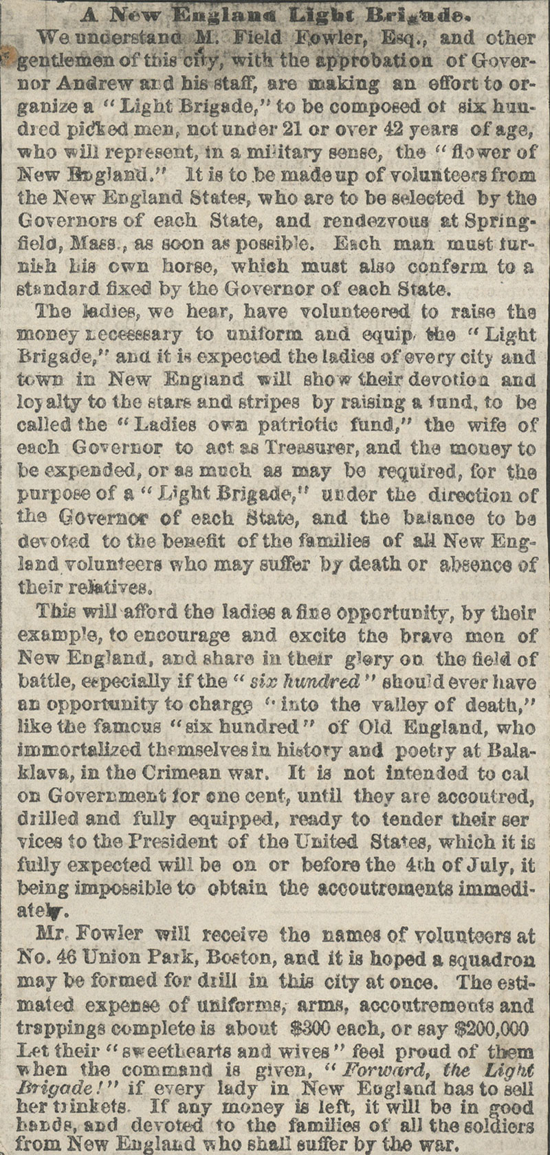 Light Brigade News Article