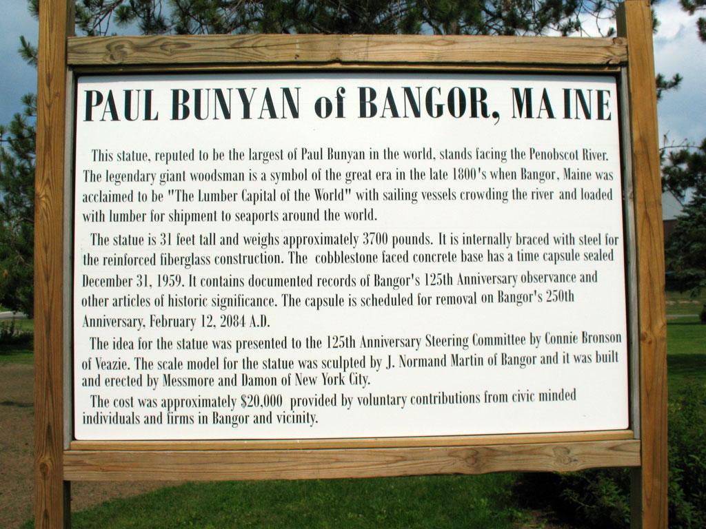 Paul Bunyon Plaque - Bangor