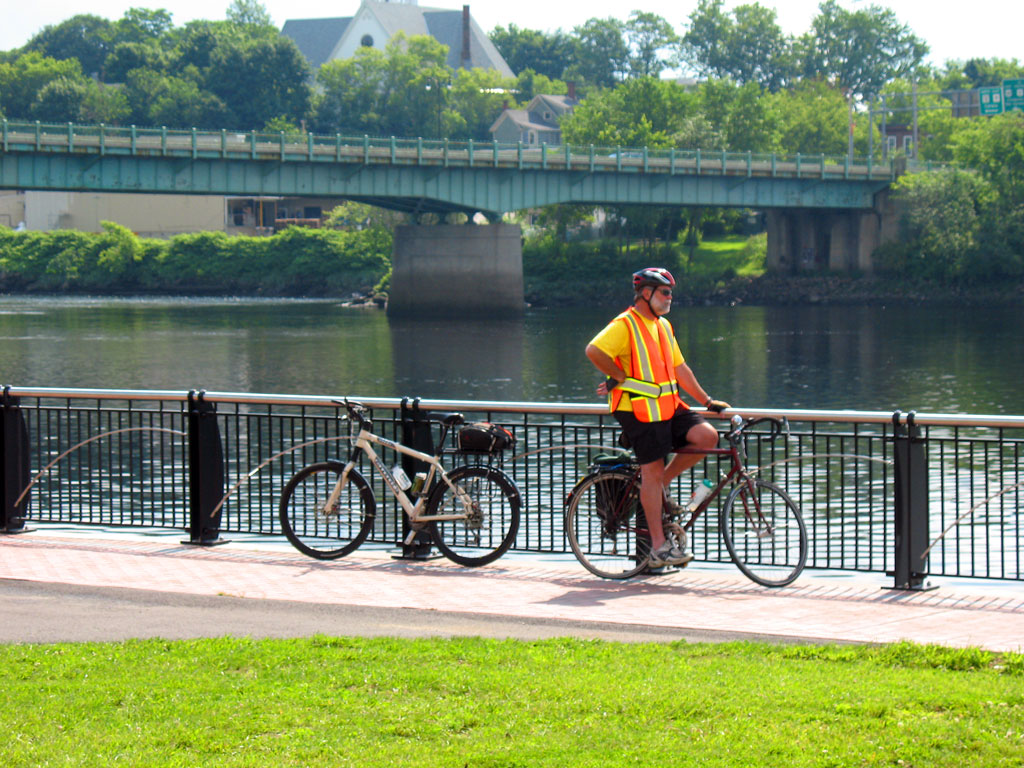 Bicyclist on Bangor Waterfront