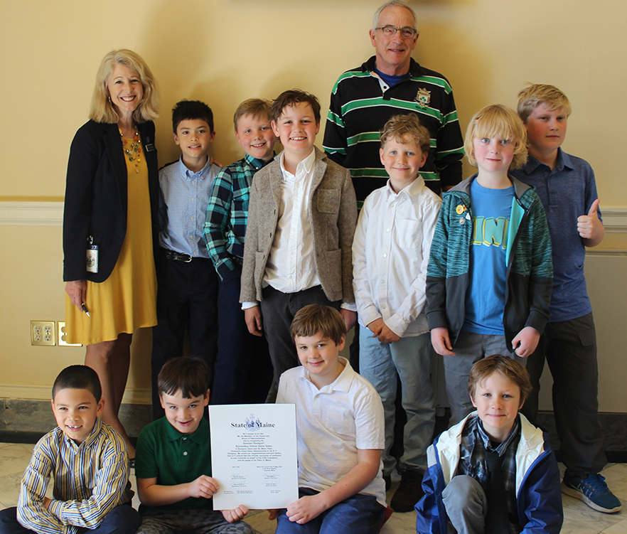 Rep. Vicki Doudera, D-Camden, welcomed members of the Camden-Rockport Elementary School chess team and their coach, Bruce Haffner