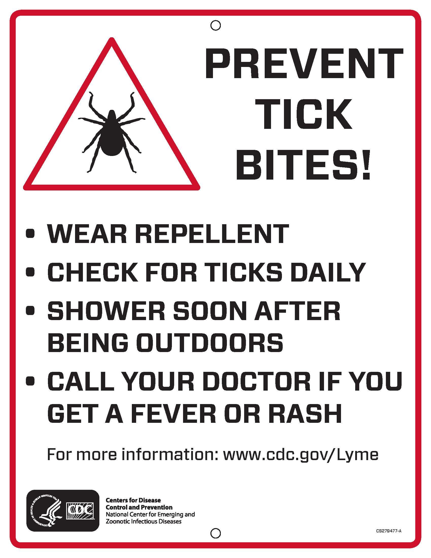 Prevent Tick Bites Trail Sign