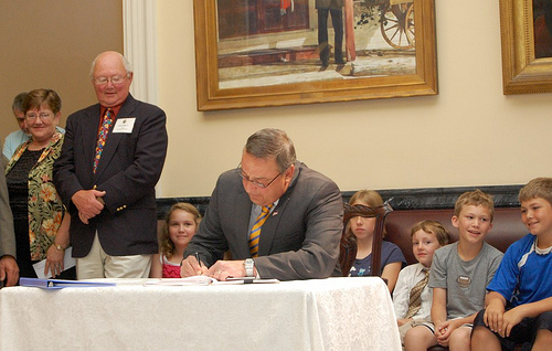 Governor LePage signs charter school legislation.