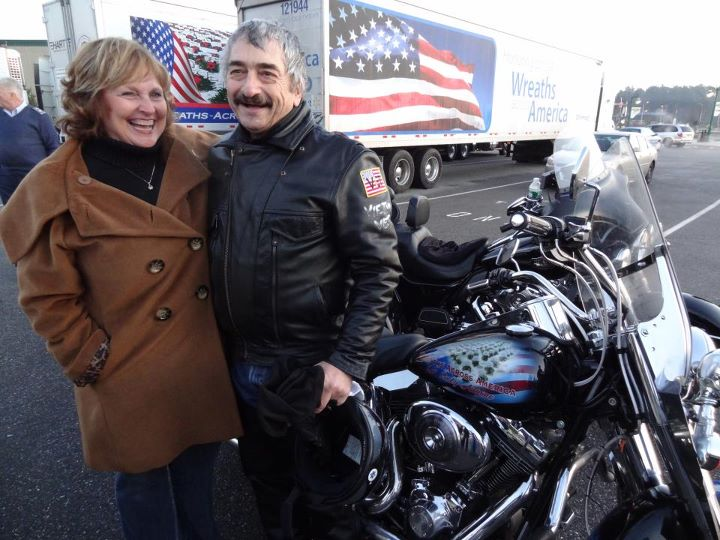 First Lady Ann LePage with a Patriot Guard Rider.