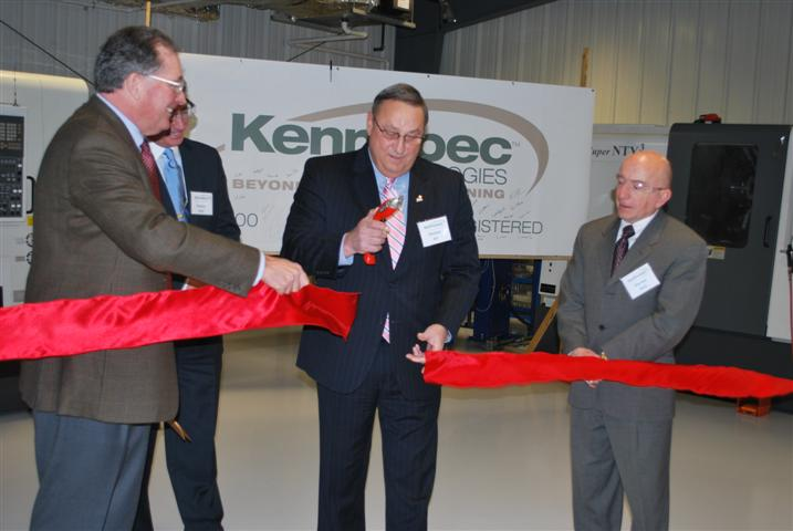 "Ribbon Cutting: (R to L) Charles ""Wick"" Johnson, Augusta Mayor Bill Stokes, Governor LePage & Maurice Dube of the SBA."