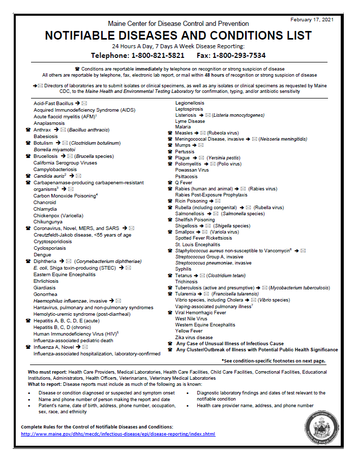 Notifiable Diseases and Conditions List
